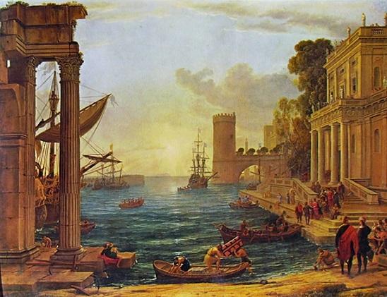 Lorrain porto di mare con l'imbarco regina di Saba