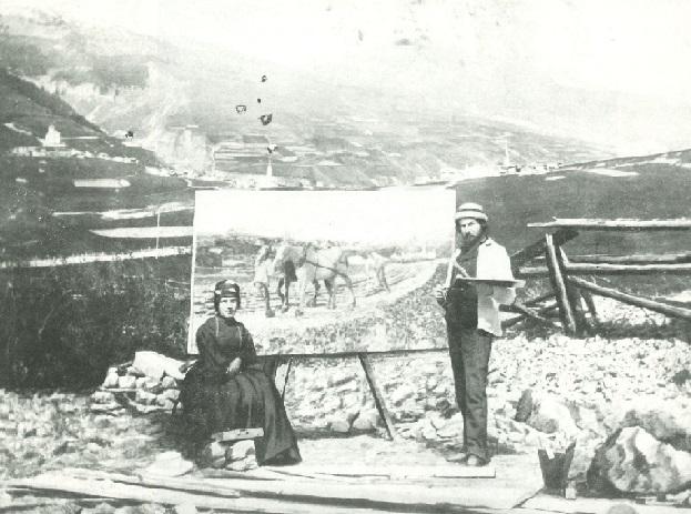 segantini e bice davanti alla prima versione dipinto aratura