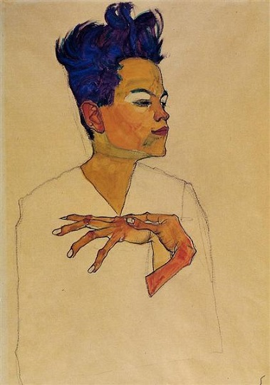 egon schiele autoritratto with hands on chests