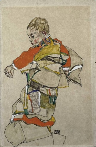 Egon schiele boy in multi colored coot or robe mouton
