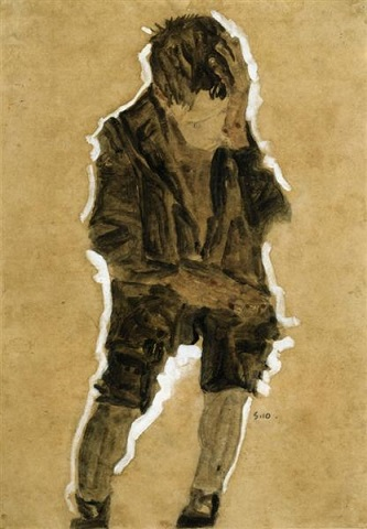 egon schiele boy with hand to face 1910