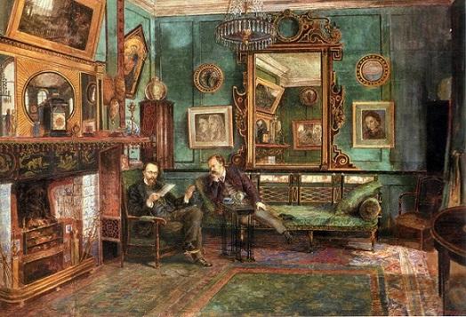quadro di Henry Treffry Dunn Rossetti leggere le prove di ballads e sonnets