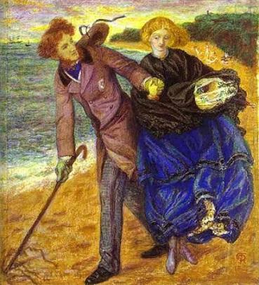Rossetti quadro scrivendo sulla sabbia 1859