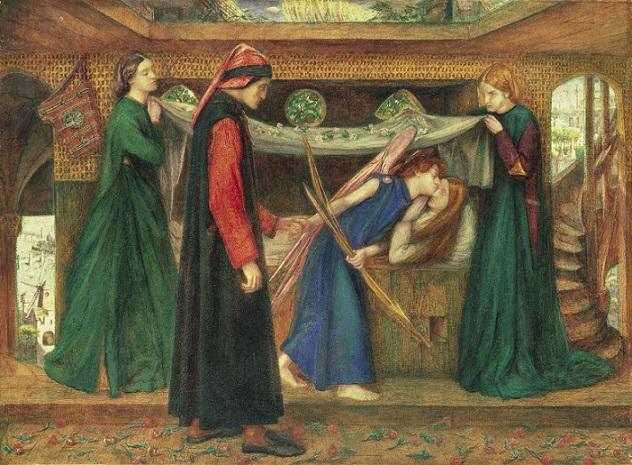 Rossetti il sogno di Dante alla morte di Beatrice