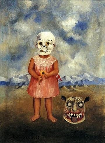 bambina con maschera della morte
